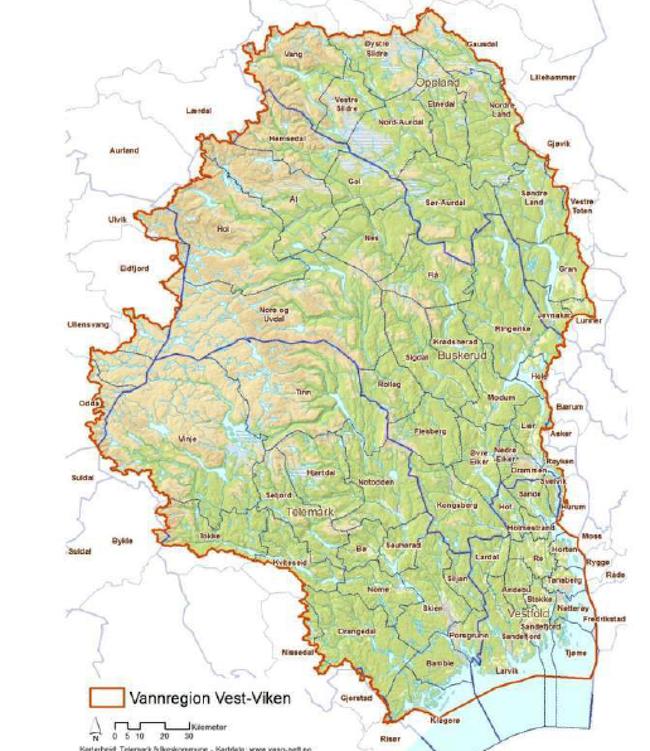 Kart over Vannreghion Vest-Viken